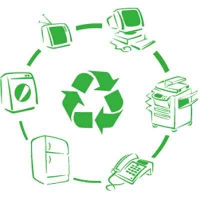 un'immagine circolare con icone di computer, televisioni e stampanti