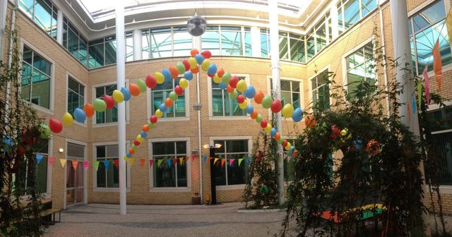 entrance decorated with balloons