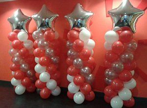 White, silver and red balloons