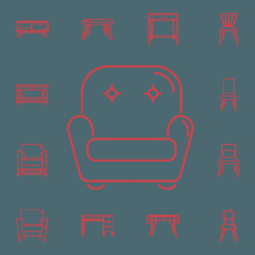 icone rappresentanti diversi tipi di sedie e poltrone