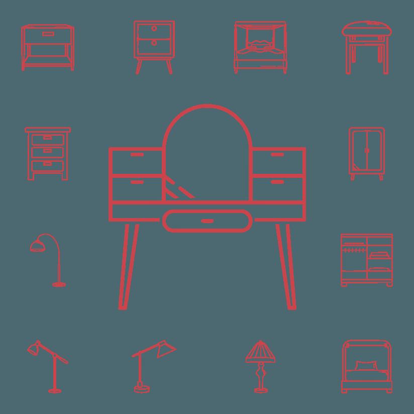 icone rappresentanti diversi mobili