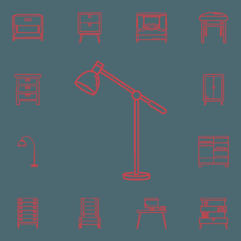 icone rappresentanti armadi e lampade