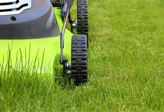 A lawnmower cutting the grass
