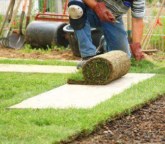 A gardener laying turf around a garden path