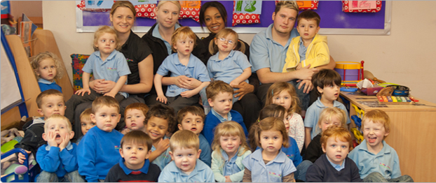 Group of staff with children