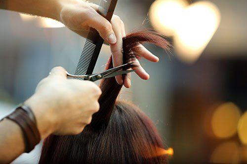 Parrucchiere tagliando il pelo di un cliente
