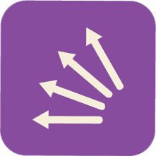 arrows pointing west with purple background