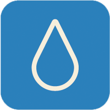 drop of water icon with blue background