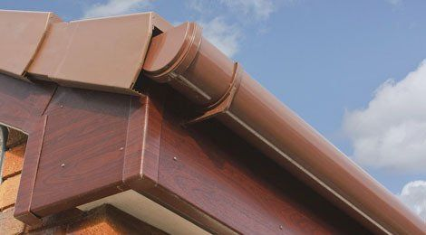 Close view of brown uPVC roofline