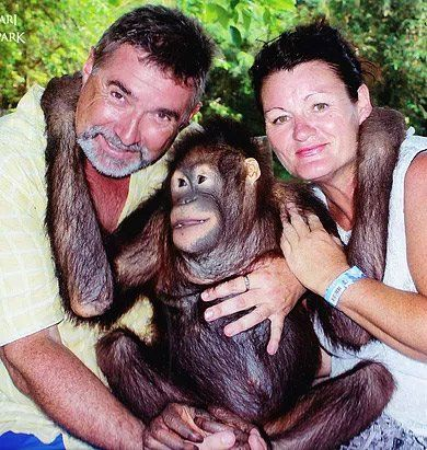 john and sharon with monkey