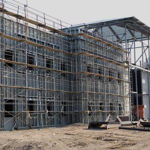 scaffolding around a commercial building