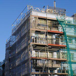 scaffolding around flats