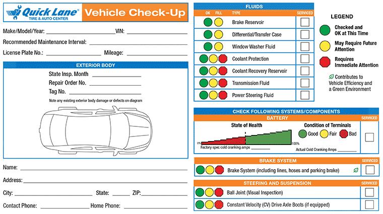 Quick Lane Tire Auto Greensboro Nc Vehicle Checkup Report