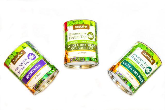 Diamine organic herbal tea : Moringa, Guinea Hen Weed and Sour Soup tea, Guinea Hen Weed tea