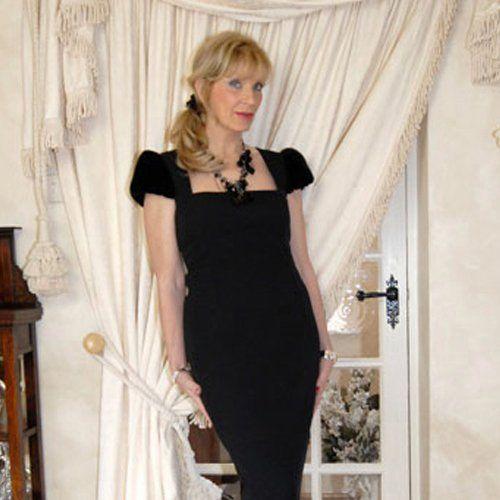 lady wearing a black bespoke dress
