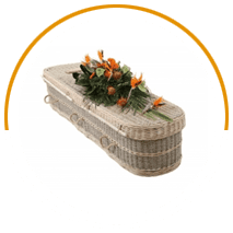Coffin decorated with orange flowers