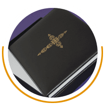Black leather cross book