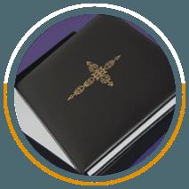 Black leather cross book