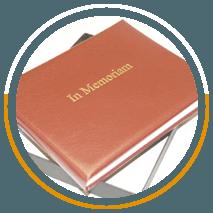 Burgundy faux leather In Memoriam book