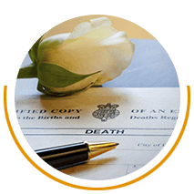 White flower on a death certificate