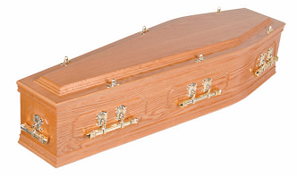 Brown wooden coffin