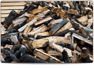 firewood stacked beside fireplace
