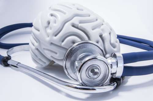 The figure of the human brain with a stethoscope