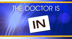 The Doctor is in text on blue background with a gold top and bottom border