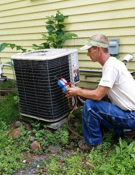 HVAC repair connected to a residential unit