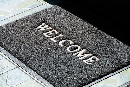 Tappeto plastica con scritta Welcome