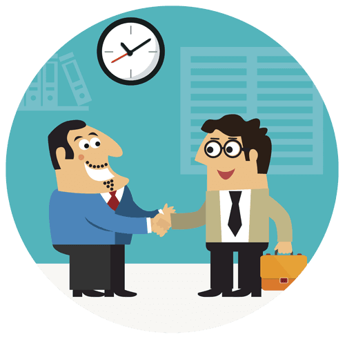 cartoon of employer and employee shaking hands