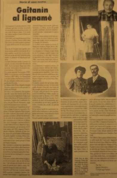Articolo di giornale storico sulla lavorazione artigianale del legno