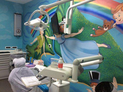 studio dentistico con cartoni animati sulla parete