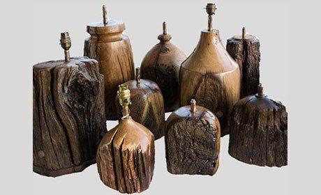 Rustic oak lamps