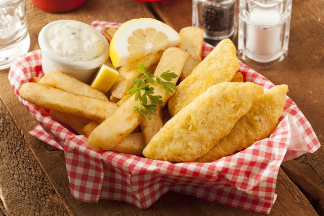 Fresh fish and chips served at our restaurant in Prescot