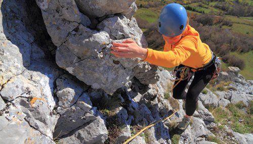 Women doing rock climbing