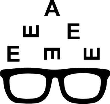 Icona occhiali da vista e lettere per la misurazione della vista