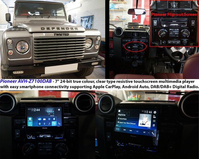 Landrover Defender fitted with Pioneer AVH Z7100DAB