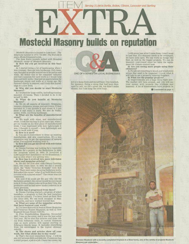 Lancaster, MA, Mostecki Masonry stone fireplace install news article