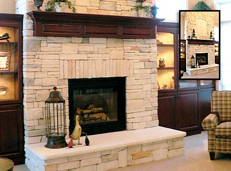 stone fireplace design, repair and installation