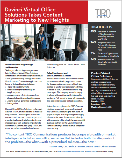 TIRO Communications, Customer Snapshot, Customer-Advocacy Marketing