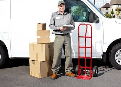 Courier delivery staff with van