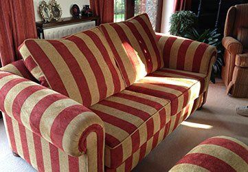 Red And Cream Striped Sofa