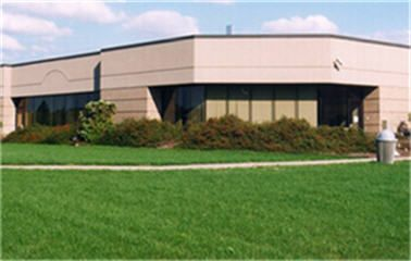 Commercial building with new lawn installation