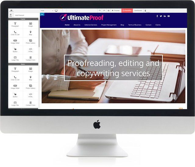 Ultimate Proof website content management system on Macbook