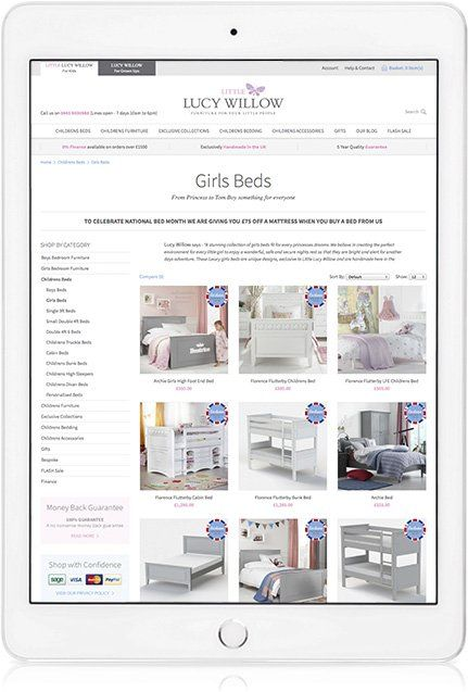 Website design on iPad Portrait