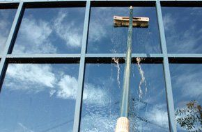 Water fed pole system cleaning a window