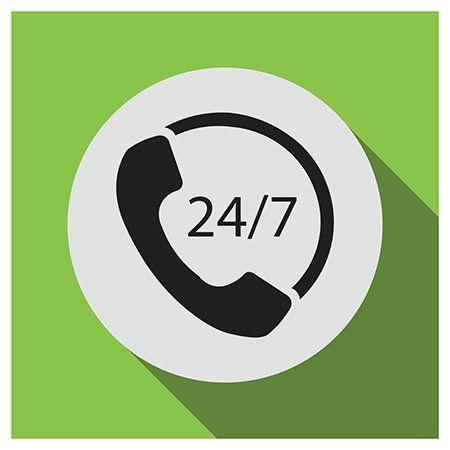 logo di un telefono e la scritta 24/7