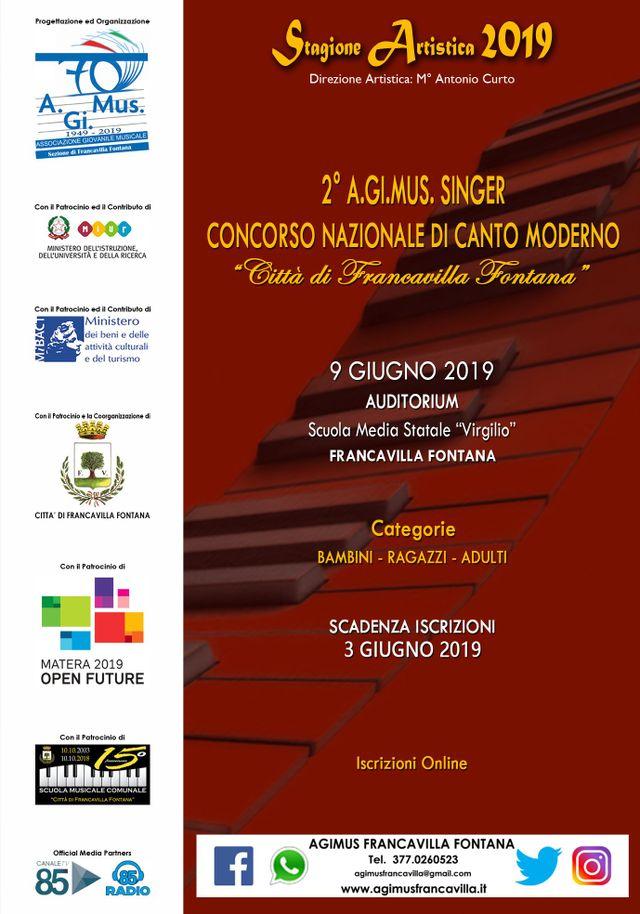 Calendario 2019 Moderno.2 Concorso Nazionale Canto Moderno 2019