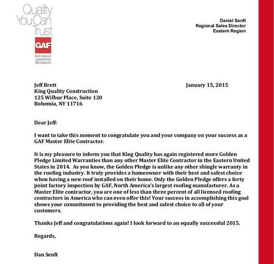 Letter from GAF about King Quality Construction's GAF Master Elite Contractor status.